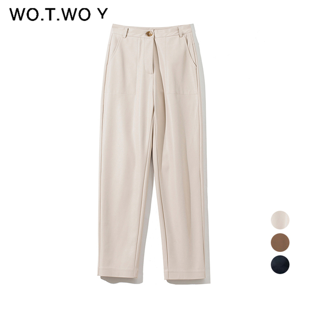 High Waisted Straight Leather Trousers  6
