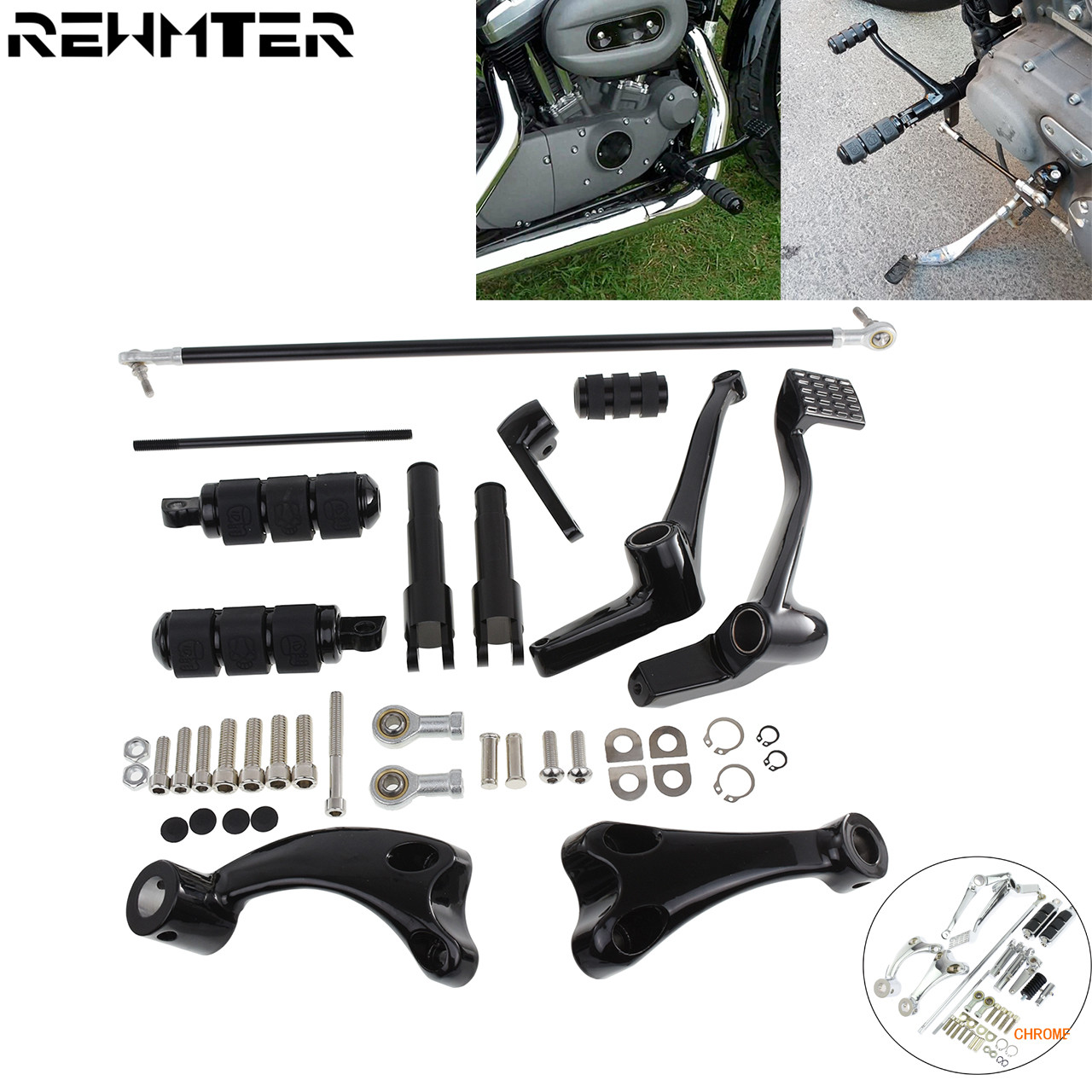 Gloss Black Forward Controls Pegs Levers Linkages For Harley XL 883 1200 2014-18