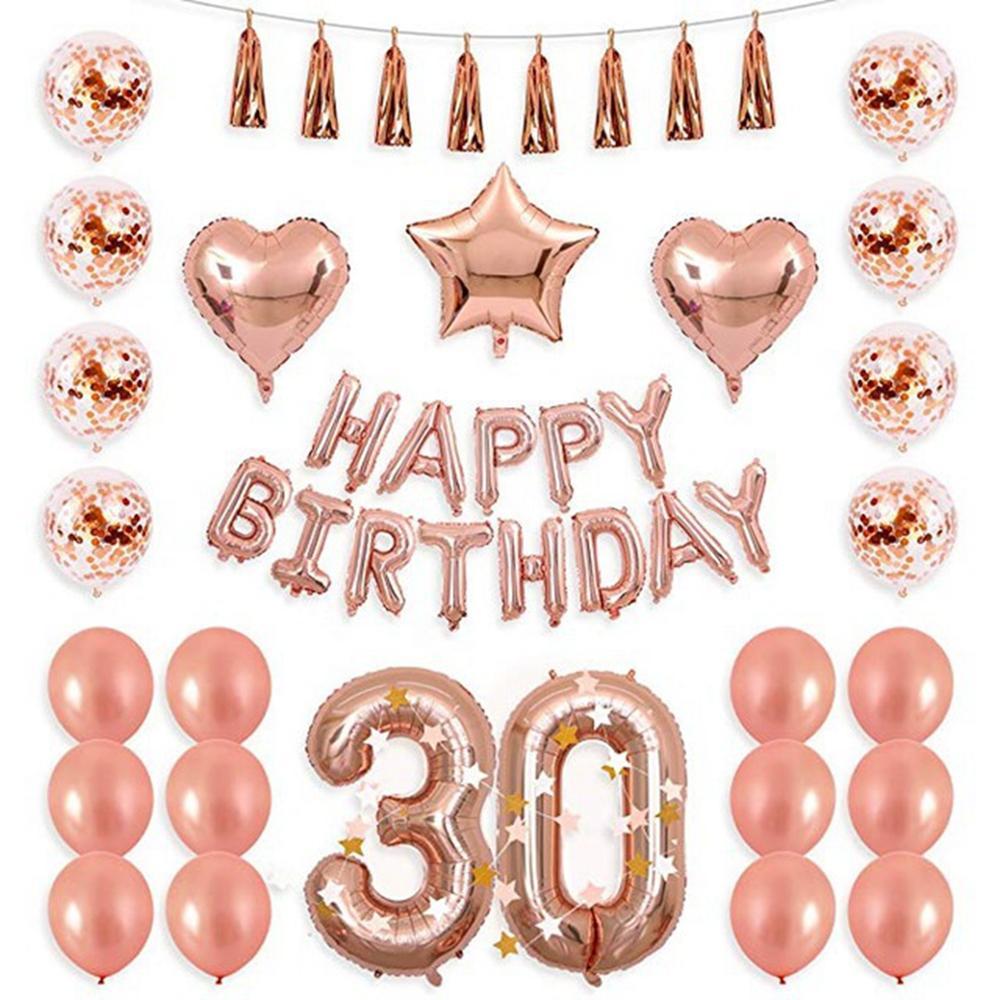 Balão de ouro rosa 30th 30 aniversário festa ballon feliz aniversário balões garland para 30 anos de idade festa 30 aniversário suprimentos