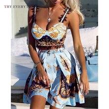Blue Boho Beach Dress Summer 2019 Print Lace Sexy Dress Women Sleeveless Spaghetti Strap Mini Short Dress Ladies A Line Sundress