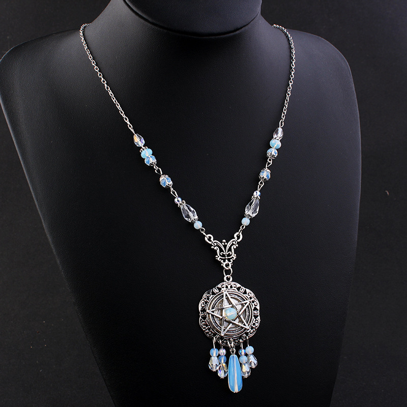 Gothic Pentagram Start Necklace Women Crystal Beads Long Pendant Chain Necklace Initial Statement Necklace Trendy Jewelry