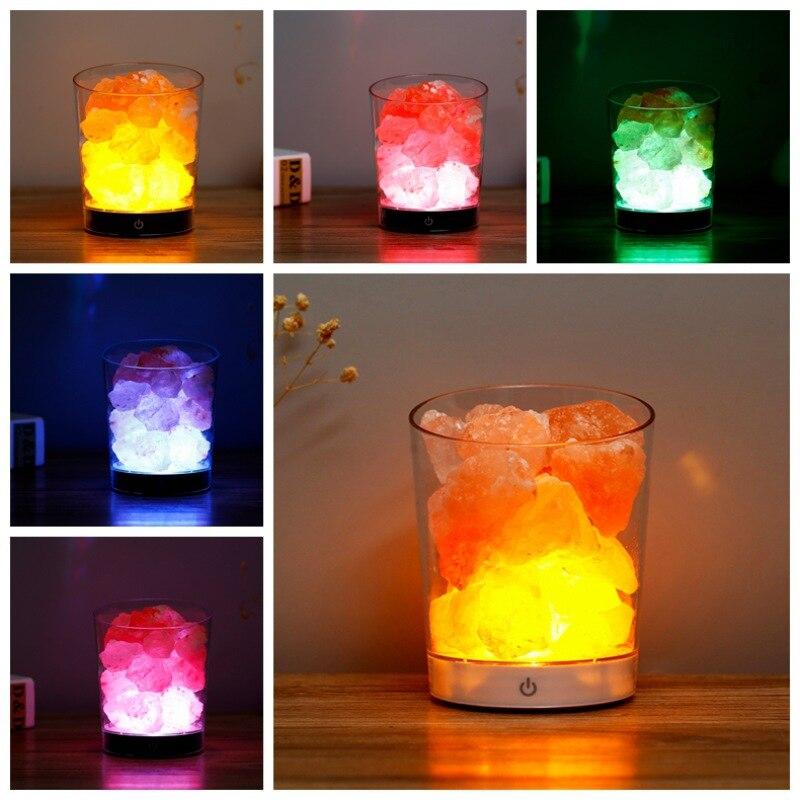USB Multicolor Himalayan Salt Lamp Natural Crystal Salt Stone Night Light Home Bedroom Lighting Decoration For Healthy Life