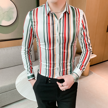 Brand New 2020 Spring Long Sleeve Mens Dress Shirts Slim Fit Casual Blouse Homme 4XL-M British Style Fashion Men Striped Shirt