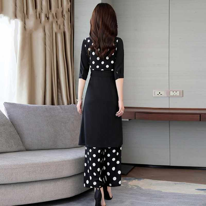 2020 verão novas mulheres polka dot longo blazer casaco calças de perna larga conjunto trabalho de escritório terno conjunto de roupas manga curta conjunto
