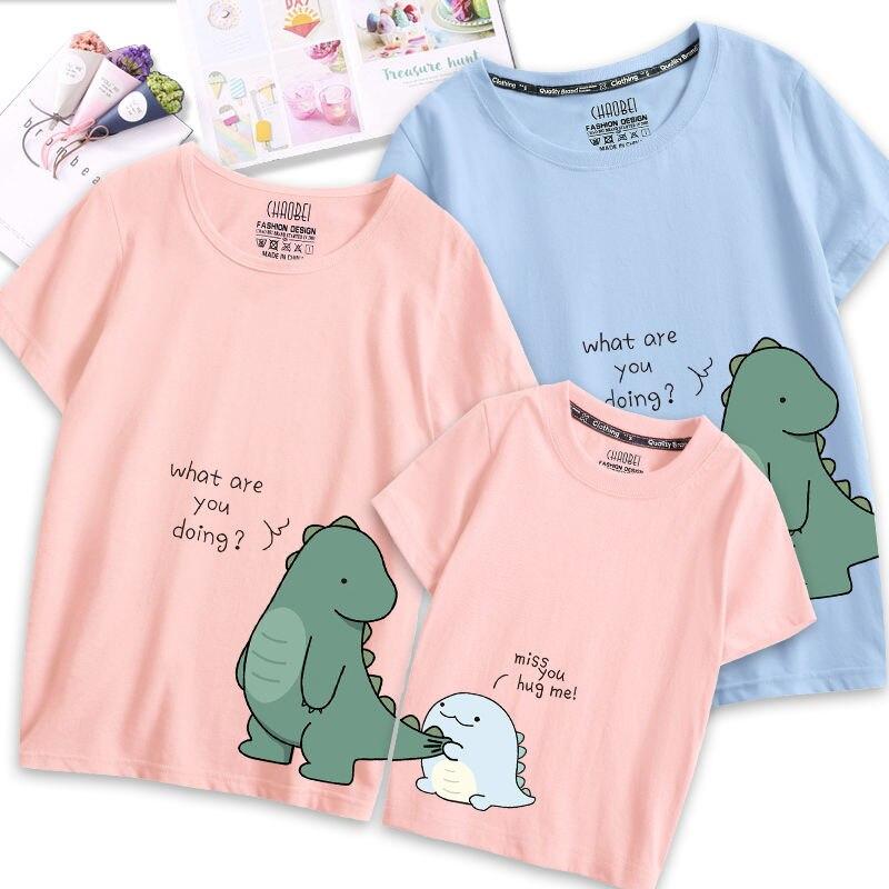 VIDMID famille correspondant pyjamas Couple modélisation mère fille manches courtes chemises enfant T-shirt Parent-enfant ensemble P130
