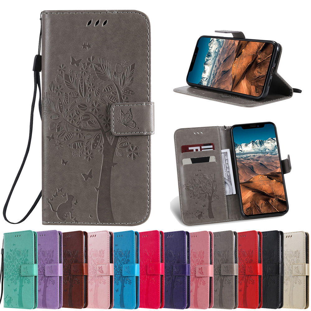 Sunjolly Tree Case Flip Wallet Card Holder PU Leather Phone Cover coque for Lenovo ZUK Z2 Pro A2020 Vibe C K5 Plus K5 A6020 Case