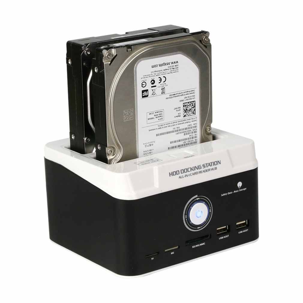 895U3SC USB3.0 All-in-1 Dual SATA HDD Docking Station Double Position Hard Disk Base With Card Reader Clone Dock