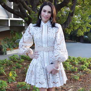 Женское мини-платье с рукавами-фонариками Ailigou, элегантные белые вечерние платья с ажурной вышивкой в оправе и воротником-стойкой на поясе, ...