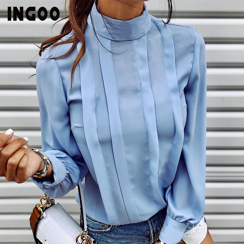 INGOO Autumn Turtleneck Office Women Shirt Lantern Long Sleeve Ruched Pleated Blouses Button Elegant Blue White Shirts Female
