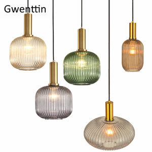 Image 2 - Modern Stained Glass Pendant Light Fixtures Led Gold Hanging Lamp for Living Room Bedroom Home Loft Industrial Decor Luminaire