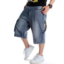 Calção jeans masculina plus size, calção solta de denim, curta, streetwear, hip hop, longo 3/4, capri cargo, com bolso azul masculino azul