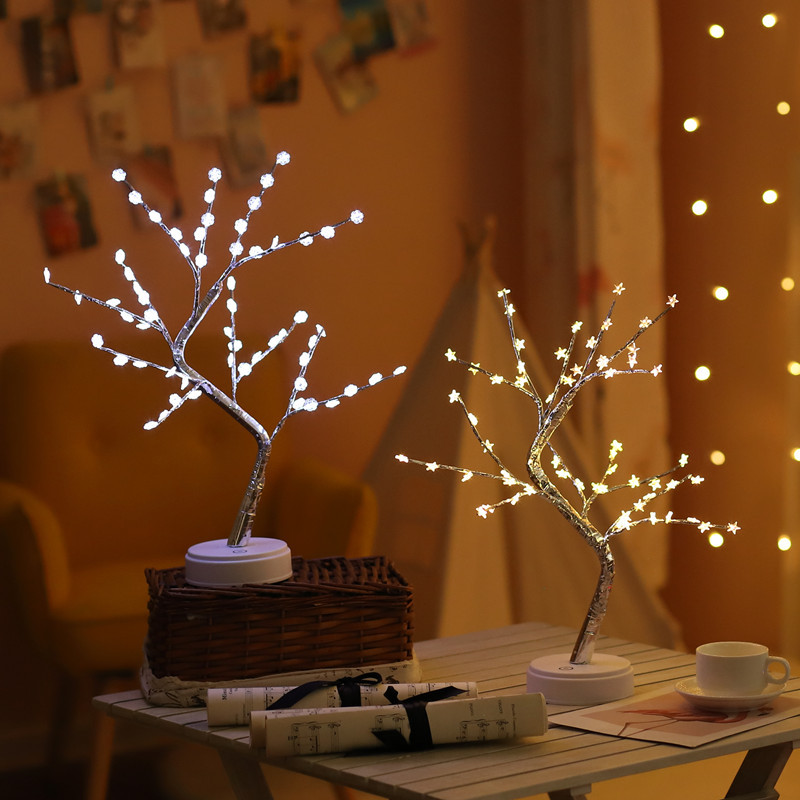 60LED Bulbs Willow Branch Lamp Snow Flakes Star Floral String Fairy Lights Outdoor Christmas LED Garlands Vase Home Decoration