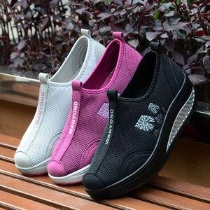 Image 5 - MWY Balanço Das Mulheres Sapatos Casuais Sapatos de Caminhada Malha Respirável Cunhas Sapatos Altura Crescente Sapatos Femininos Deportivas Mujer
