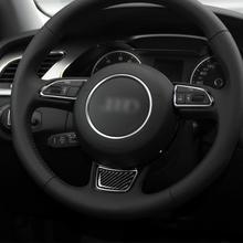 цена на for Audi A3 S3 2014 2015 2016 2017 2018 2019 Carbon Fiber Interior Decoration Steering Wheel Sticker Personalized Accessories