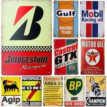 Carteles de hojalata Vintage GTX Texaco en la zona del Golfo 51 BP aceite de Motor PLACA de Metal carteles Bar Pub garaje Decoración Retro Decoración de la pared