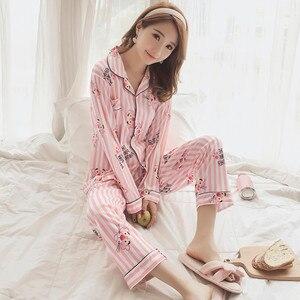 Image 4 - 2019 jesienne piżamy damskie zestawy z nadrukiem moda luksusowe kobiece dwa kawałki koszule + spodnie koszule nocne bielizna nocna miękkie Homewear