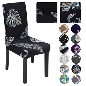 Printed Elastic Chair Cover Spandex Kitchen Chair Slipcovers Protector Stretchable Dinning Room For Home Wedding Banquet Party