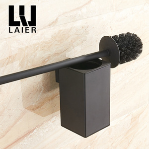 Image 3 - Vidric Wand montiert edelstahl inneren kunststoff eimer wc pinsel halter schwarz, perforierte metall anhänger racks