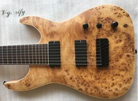good quality mahogany solid wood 8 string electric guitar with tree burl, mapwood, ashwood top free shipping