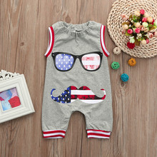 4th Of July US Flag Newborn Toddler Baby Boy Clothes Kids Romper Sleeveless Jumpsuit Glasses Outfits 6M-24M