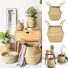 Foldable Natural Seagrass Wickerwork Basket Rattan Hanging Flower Pot Dirty Laundry Hamper Storage Basket Home Garden Decoration