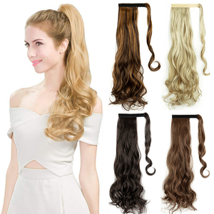 Curly Wavy Straight 20 22 Inch Long Wrap Around Synthetic Hair Piece Clip In Ponytail Hair Extensions Hairpiece for Women Girls