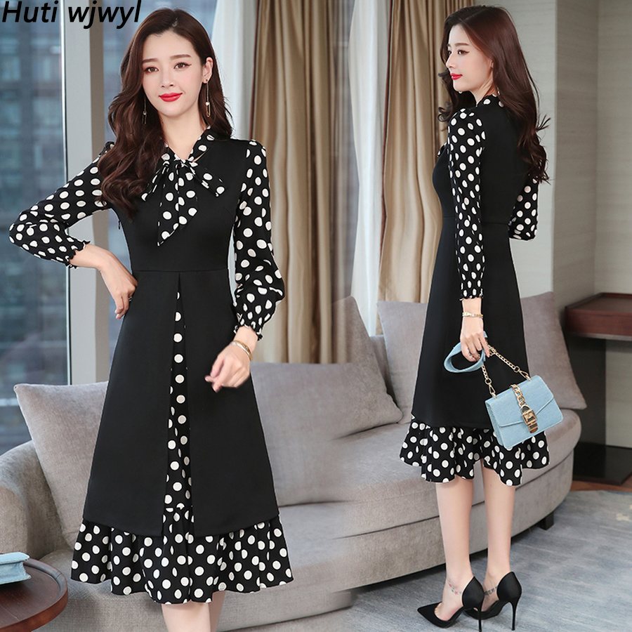 2020 Vintage Black Dot Long Sleeve Midi <font><b>Dress</b></font> Autumn Winter 4XL <font><b>Plus</b></font> <font><b>Size</b></font> Solid <font><b>Sexy</b></font> Women Bodycon <font><b>Dress</b></font> Elegant Party Vestidos image