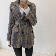 Autumn Vintage Plaid Women Blazer Coats Casual Single Buttons Sashes Female