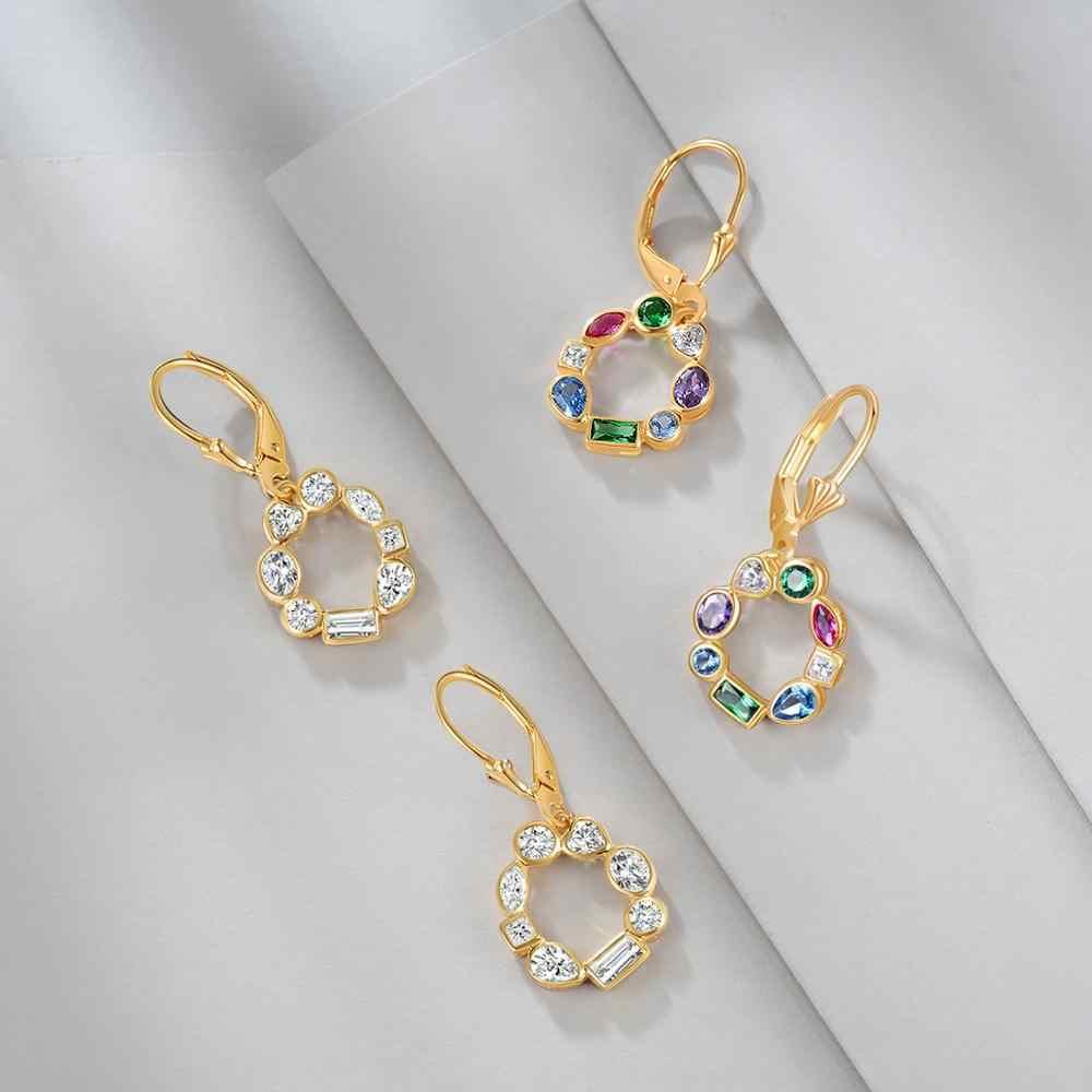 E宝石本物の 925 スターリングシルバー女性のためのゴールドメッキカラーキュービックジルコニアハートプルメリアブラブラ耳
