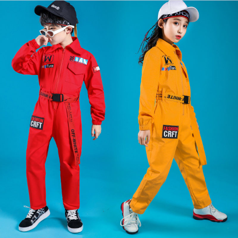 Boys Girls Jazz Modern Dancing Costumes Clothing Suits Children's Hip Hop Dance wear Outfits Stage Costumes Coverall Clothes