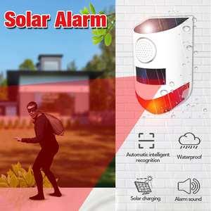 120db luz de som solar alarme sem fio infravermelho sensor movimento detector ip67 à prova dip67 água casa jardim ao ar livre sistema alarme segurança