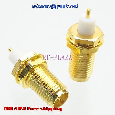 DHL/EMS 500pcs Connector RPSMA Female Plug Bulkhead PTFE Solder Cup Panel Mount Straight -A3