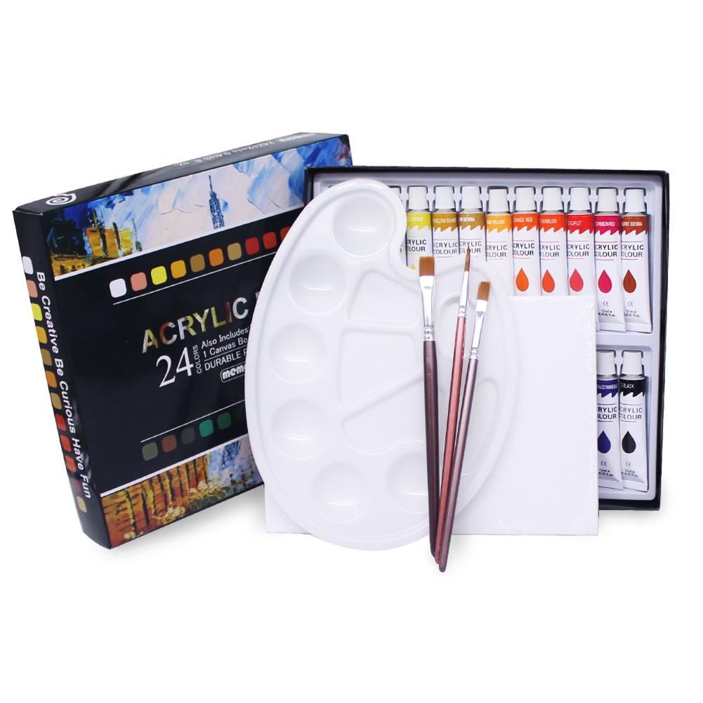 Bellek 24 renk akrilik boya seti kumaşlar boyama giyim pigmentler-dahil 3 fırçalar 1 paleti 1 tuval
