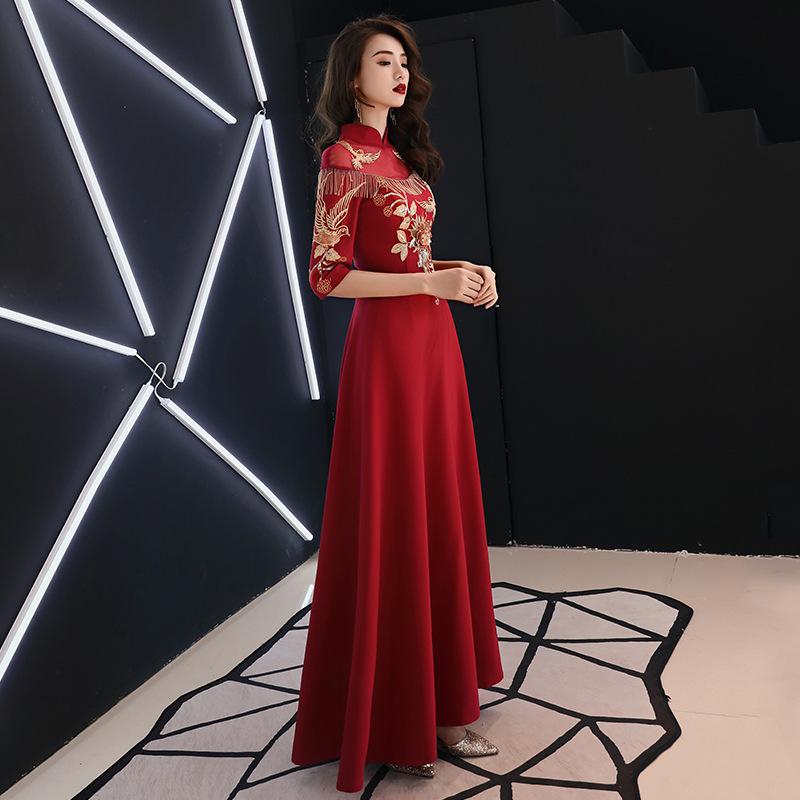 Bride Dress For Toast Cheongsam 2019 New Style Red Mid-length Slimming Chinese Style Marriage Huimen Evening Dress Women's