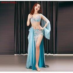 Nouvelle étape de luxe femmes filles danse du ventre Costumes soutien-gorge + jupe longue + ceinture 3 pièces costume de danse du ventre femmes ensemble de danse de salon