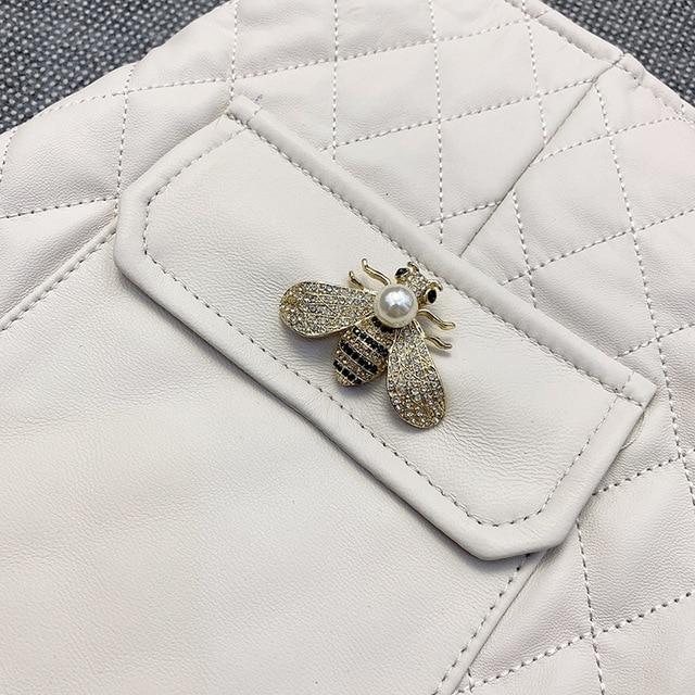 2021 saias de couro de inverno das mulheres chiques alta qualidade pele de carneiro couro genuíno a line saia c836