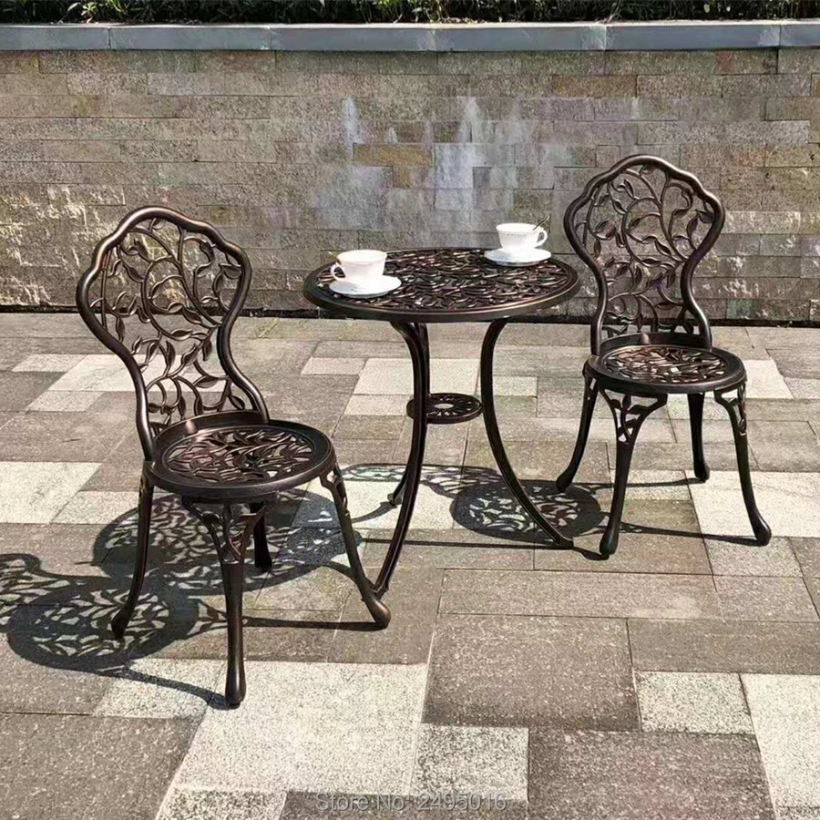 3 Piece Aluminum Bistro Set In Antique Copper Chairs And Table For Garden ,Balcony,cafes,all-weather,anti-UV,leaf Design