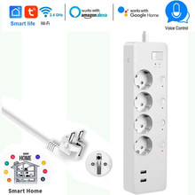 Smart WiFi Power Strip EU Plug 16A Energy Monitor Surge Protector Timer Switch Control Work Alexa Google IFTTT APP Smart Life(China)