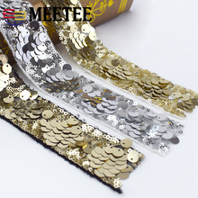 4Meters 4cm Eco-Friendly Sequins Lace Trims 3D Gold Silver Ribbons for Stage Dance Dress Belt Sewing Accessories
