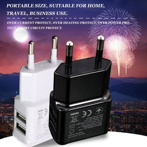 1A Portable Dual USB Power EU Adapter Mobile Phone Charger Electrical Socket Travelling Matching Charger Adapter For Smartphone