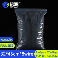 100count 32x45,3 Mil Clear Plastic Reusable Zip Lock Poly Bags with Resealable Lock Seal Zipper(More Sizes Available)