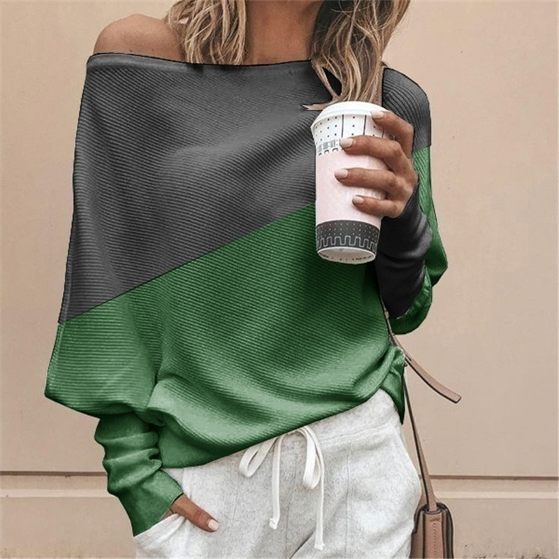 Autumn Winter Clothes Women Plus Size S-5XL Casual Shirts O Neck Patchwork Batwing Sleeve Pullovers Off Shoulder Female T-shirts 22