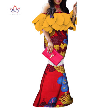 African-Dresses-for-Women-plus-size 2020 Dashiki Elegant Traditional African Clothing Flare Sleeve Party Dress WY3955
