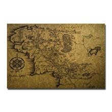 Affiche d'art en toile de la carte de la terre du milieu, Style Vintage, seigneur des anneaux, peinture de film, image murale pour décoration de salon