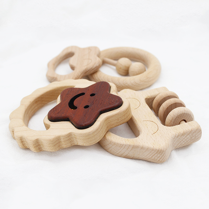 Organic Baby Teething Product Beech Wooden Rattle Teether DIY Wood Teether Pendent Eco-Friendly Safe Baby Teething Chew Toys