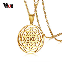 Vnox Shri Chakra Yantra Pendant for Women Men Necklace Gold Color Stainless Steel Shakti Sri Lanka Unisex Casual Jewelry