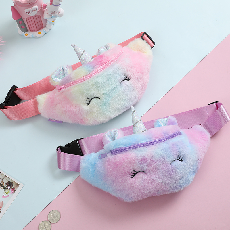 Fanny Women Plush Waist Bag Unicorn Chest Bags Cute Travel Belt Shoulder Bag For Teenager Girls Waist Bag