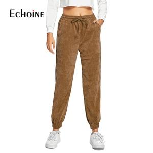 Image 1 - Pantalon en velours côtelé pour femme, taille haute élastique, ample, violet, marine, gris, avec cordon de serrage, automne et hiver, collection décontracté