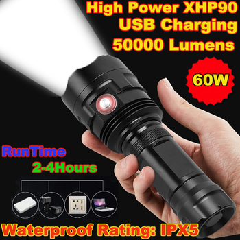 Super Bright XHP90 USB Rechargeable LED Flashlight Powerful Torch Waterproof Hunting Light Use 26650 Battery 10000lums led l2 red tactical flashlight super bright usb rechargeable torch clip hunting light waterproof for 18650 battery set
