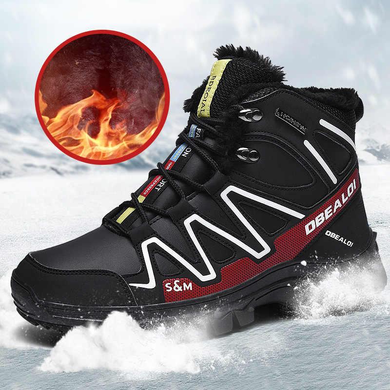 Waterdichte Mannen Laarzen Winter Met Bont Super Warme Snowboots Mannen Winter Casual Schoenen Sneakers Hoge Top Rubber Enkellaarsjes DD349